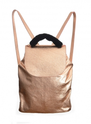 VIRGO BACKPACK in Rose Gold Leather by Romy LDN