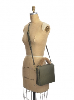 LOKI 3 POCKET CROSSBODY BAG in Olive Pebbled Leather by Romy LDN
