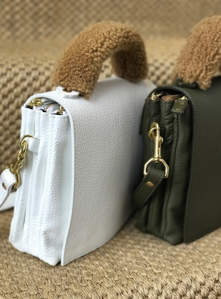 Young British Designers: LOKI 3 POCKET CROSSBODY BAG in Olive Pebbled Leather by Romy LDN