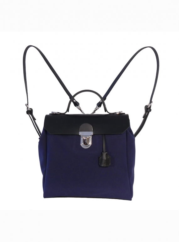 Young British Designers: Hillview Zipper Backpack in Blueberry by Jam Love London