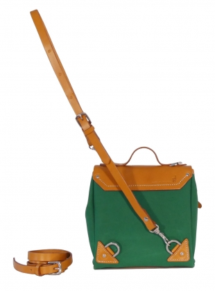 Young British Designers: Hillmini Messenger Backpack in Avocado by Jam Love London