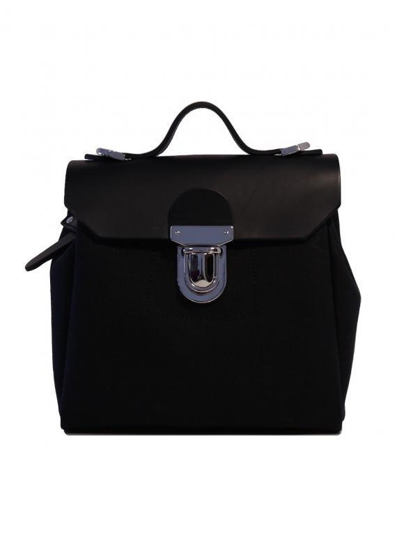 Young British Designers: Hillmini Messenger Backpack in Black Swan by Jam Love London