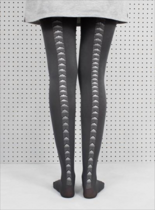 Grey Clouds Hand-Printed Tights by hose.