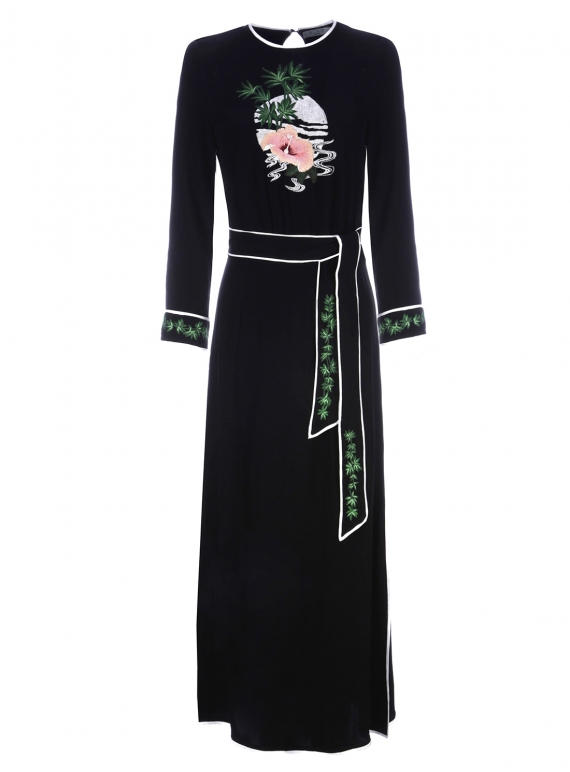 Young British Designers: ALICE Black Midi Dress with Embroidery - Sold Out by RIXO LONDON