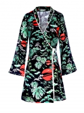 IRIS Green Oriental Sky Wrap Dress - Last one