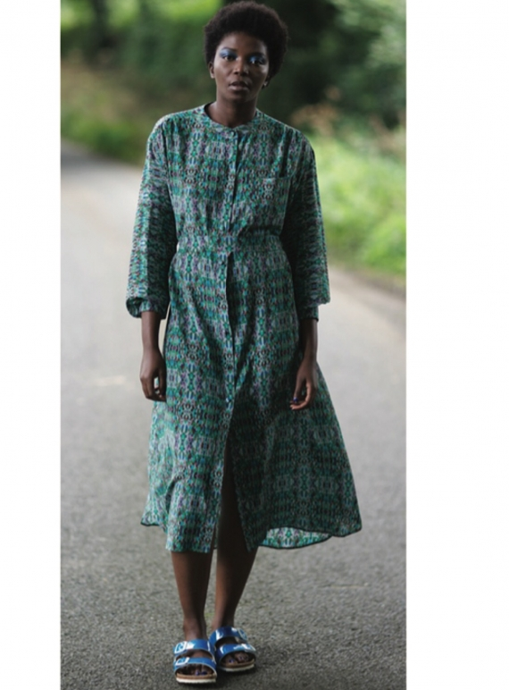 Young British Designers: Izzy Long Green Thread Print Dress by Helen Steele
