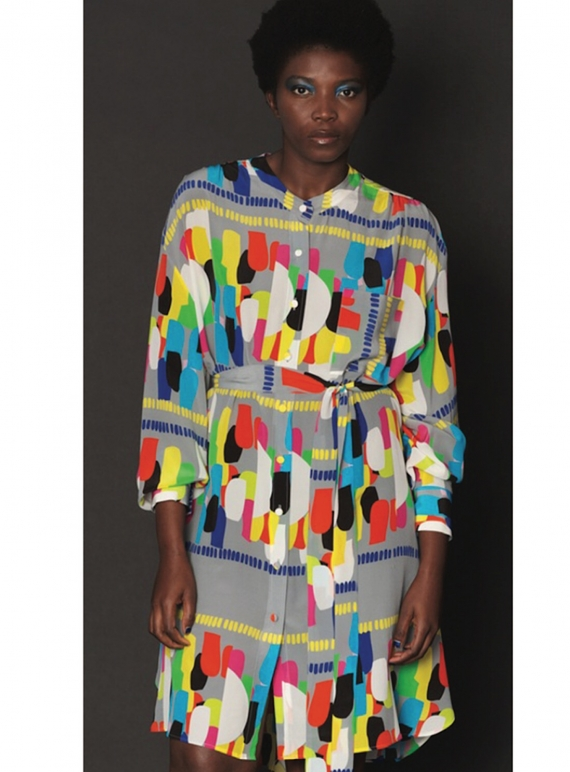 Young British Designers: Short Izzy Shirt Dress in Grey Tribe Print by Helen Steele
