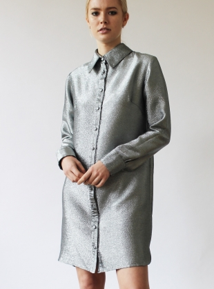 Young British Designers: ISOBEL Shirt Dress in Silver - Last one by Florence Bridge