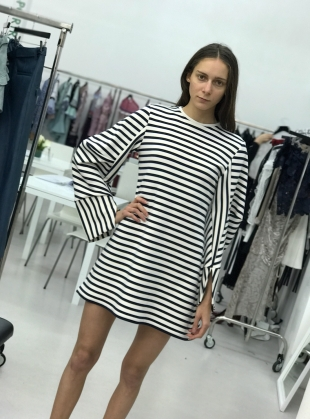 White and Navy Striped Sweat Dress by MINKI LONDON