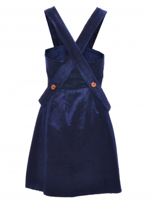 Young British Designers: LENA Velvet Pinafore Dress with Buttons and Straps by PITCHOUGUINA