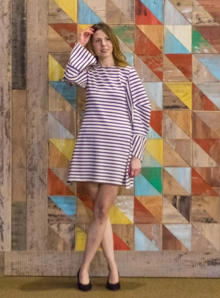 Young British Designers: White and Navy Striped Sweat Dress by MINKI LONDON