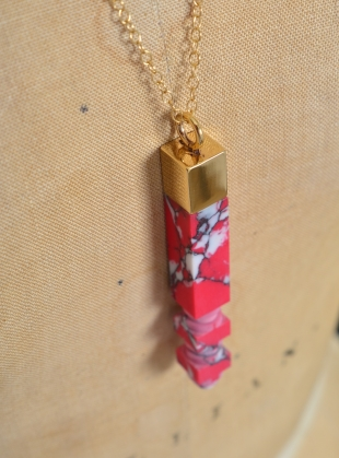 Young British Designers: Pink & White Speck Column Pendant by Lily Kamper