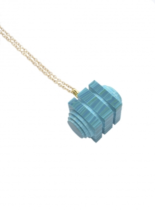 GREEN MATRIX TIERED CUBE PENDANT by Lily Kamper