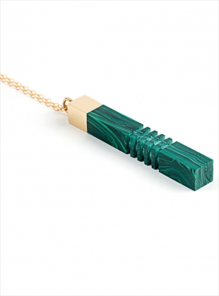 MALACHITE GOLD COLUMN PENDANT - last one by Lily Kamper