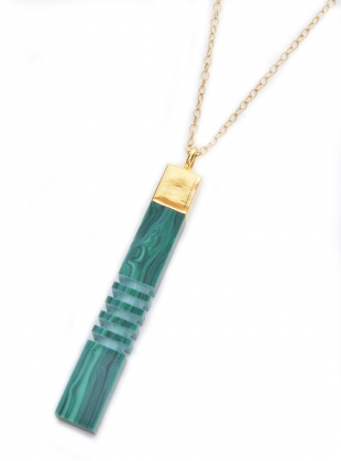 Young British Designers: MALACHITE GOLD COLUMN PENDANT - last one by Lily Kamper