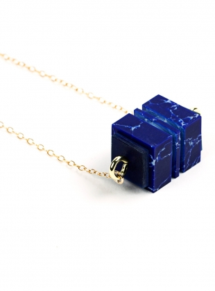 Azure Blue Cube Pendant by Lily Kamper