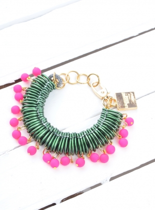 BRACELET in Dark Green/Neon Pink - sold out by Longshaw Ward