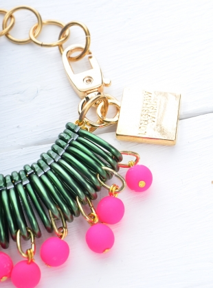 Young British Designers: BRACELET in Dark Green/Neon Pink - sold out by Longshaw Ward