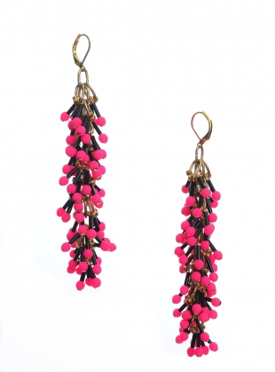Young British Designers: DANGLE EARRINGS in Neon Pink by Longshaw Ward
