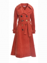 KIRSTEN Rust Corduroy Trench Coat