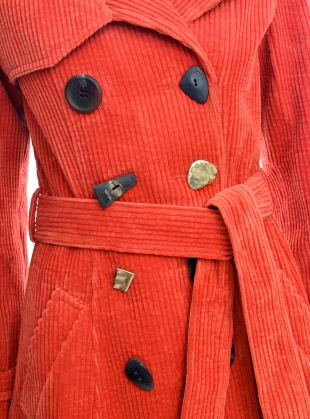 Young British Designers: KIRSTEN Rust Corduroy Trench Coat by REJINA PYO