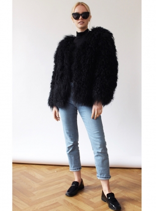 MATILDA Shearling Jacket in Black  by Florence Bridge