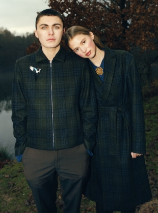 Young British Designers: GOLDFINCH BADGE Check Overcoat - Last one by Bruta