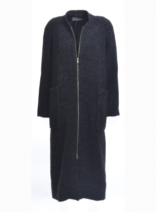 Young British Designers: GABRIEL COAT in Charcoal Wool Boucle by Joe Richards