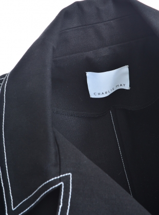Young British Designers: Black Denim Peacoat with Contrast Stitching by Charlie May