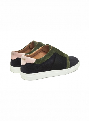 Young British Designers: MOSS VELVET SUEDE CRUMP LOW TOP- last pair by Rose Rankin