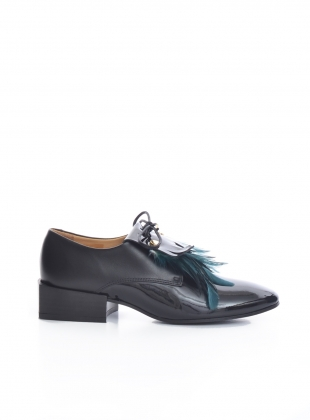 BIRDIE Black Patent/Green Feather Brogue - last pair by Rogue Matilda