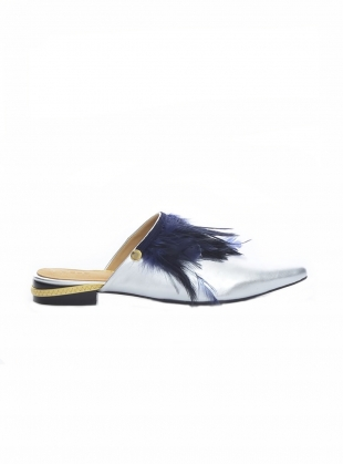 CRAZY CHICK Silver Feather Slipper - Last pair by Rogue Matilda