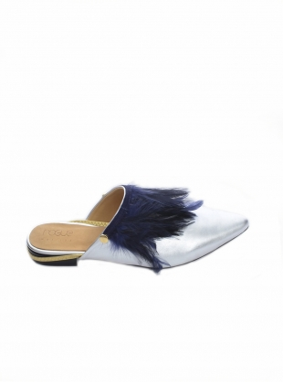 Young British Designers: CRAZY CHICK Silver Feather Slipper - Last pair by Rogue Matilda