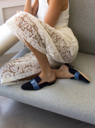 LOUNGE LOAFER in Navy Denim by Dear Frances