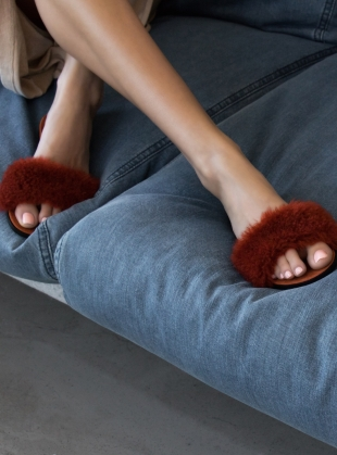 Young British Designers: BARE SLIDE in Burnt Umber Wool by Dear Frances