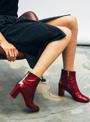 Silver Lining Ankle Boots in Metallic Cerise - Last pair by Camilla Elphick