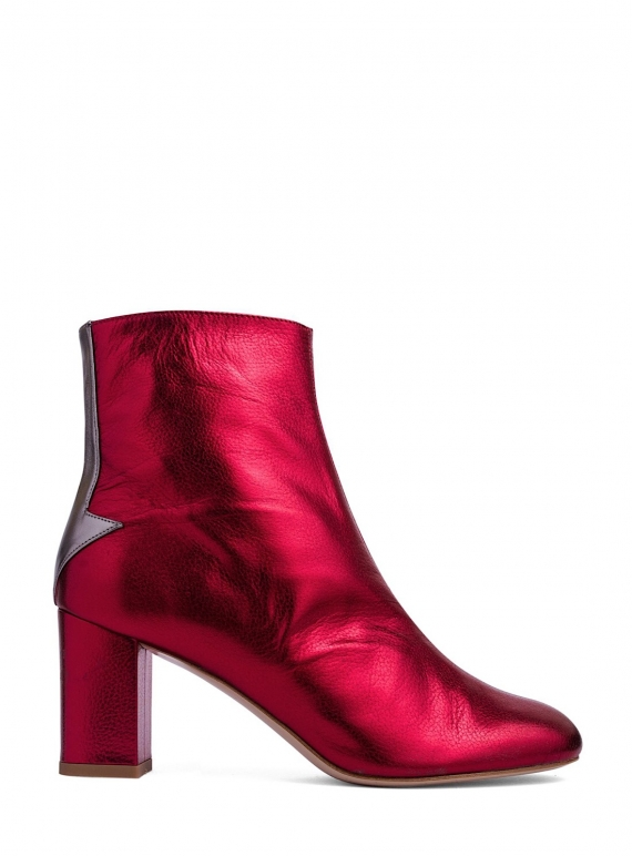 Young British Designers: Silver Lining Ankle Boots in Metallic Cerise by Camilla Elphick
