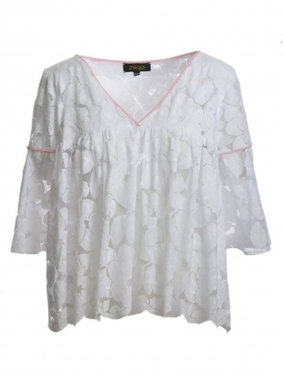 Young British Designers: Butterfly Lace Blouse in White with Pink by Ziiga