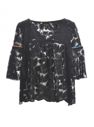 Butterfly Blouse in Black with Contrast by Ziiga