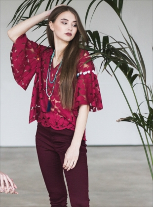 Poppy Lace Blouse in Wine by Ziiga