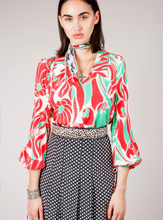 Young British Designers: ORLAGH Abstract Oriental Blouson Sleeve Blouse - Last one by RIXO LONDON