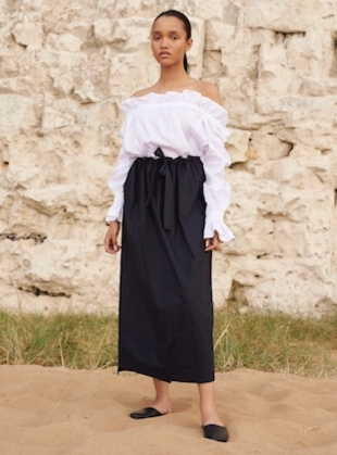 White Cotton Off-The-Shoulder Shirt - last one by Teija Eilola