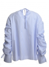 Blue Stripe Shirt with Hand-Smocked Sleeves