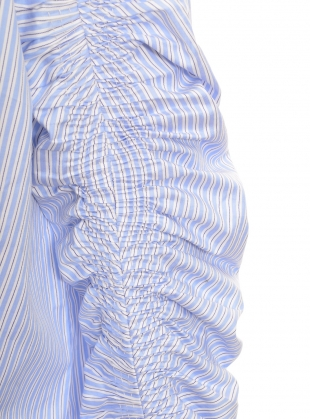 Young British Designers: Blue Stripe Shirt with Hand-Smocked Sleeves by Teija Eilola