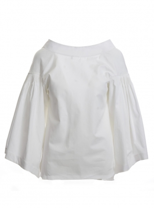 Young British Designers: Bell Sleeved Top in Pure White Cotton- last one  by Teija Eilola
