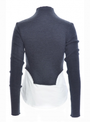 Young British Designers: ALLIE Ribbed Sweater with Shirt Top  by REJINA PYO