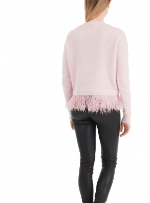 Young British Designers: ICELYN Pale Pink Knit with Ostrich Feathers by in.no