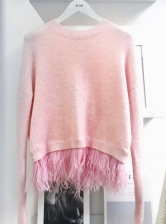 ICELYN Pale Pink Knit with Ostrich Feathers