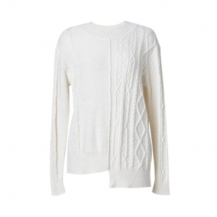 Contrast Cable Ivory Cashmere Jumper - last one by J.Won