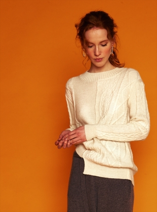 Young British Designers: Contrast Cable Ivory Cashmere Jumper - last one by J.Won